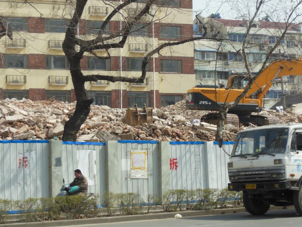 Demolished shops